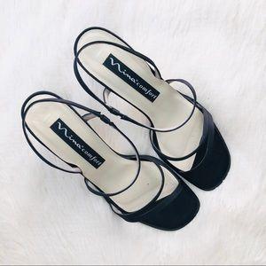 Nina Black Satin Trendy Square Strappy Sandals 9